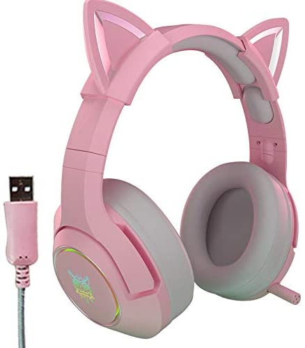 JSLING Girl Headphones Pink Wired Game Headset Removable Cat Ear Headset with Microphone HiFi 7.1 Stereo Kids Earphone for Computer Laptop