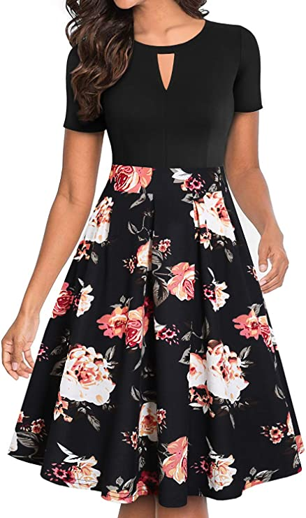 womens fashion clothes Floral Flared A-Line Swing Casual Party Dresses