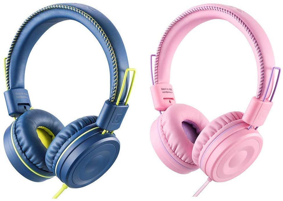 POWMEE Bundle M1 Kids Headphones Wired Headphone for Kids,Foldable Adjustable Stereo Tangle-Free,3.5MM Jack Wire Cord On-Ear Headphone for Children