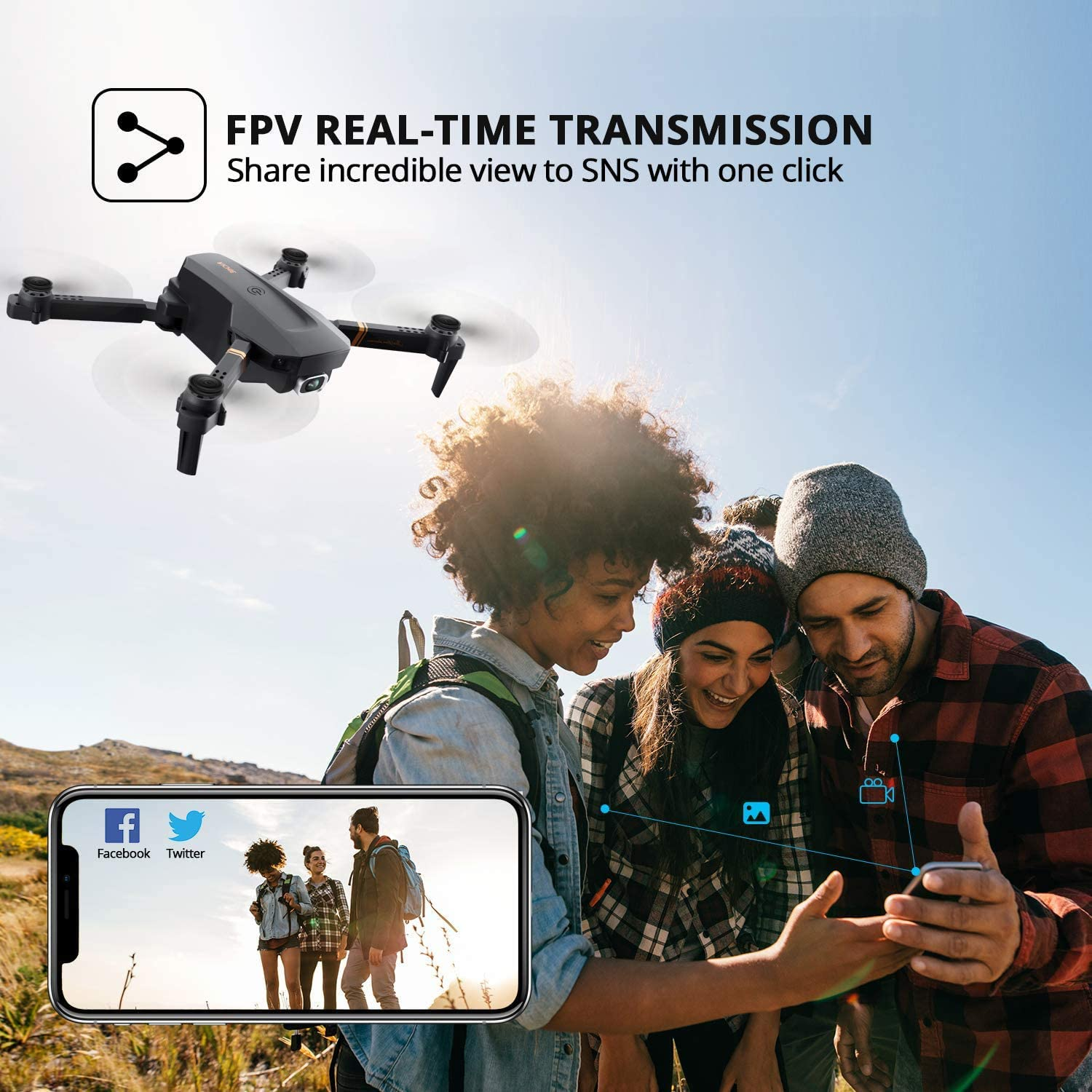 4DRC V4 Drone with Camera for adults, 1080P HD FPV Live Video, Foldable RC Quadcopter Helicopter Kids Toys,2 Batteries,Waypoints Functions, Headless Mode,One Key Start, Altitude Hold,Carrying Case
