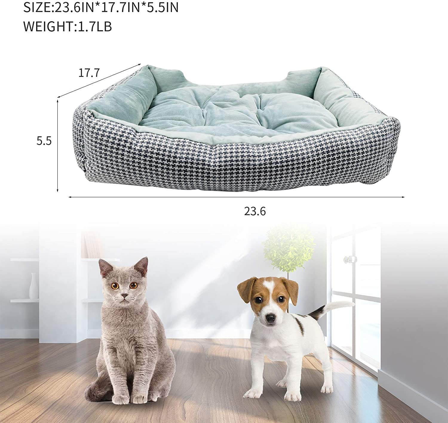 Cat and Dog Bed Rectangle Washable Removable Pet Bed With Ultra Soft Luxury Plus Anti-Slip & Water