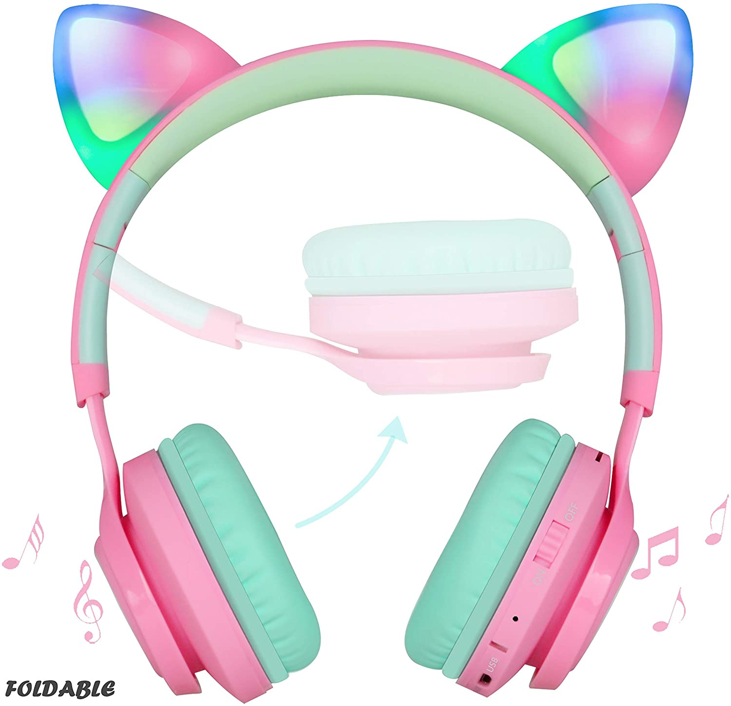 Riwbox Bluetooth Headphones, Riwbox CT-7 Cat Ear LED Light Up Wireless Foldable Headphones Over Ear with Microphone and Volume Control for iPhone/iPad/Smartphones/Laptop/PC/TV (Pink&Green) (Renewed)